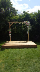 Rustic Wooden Wedding Arbour/Altar and Stage