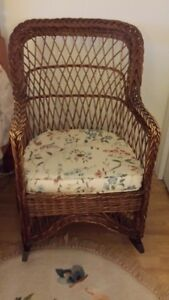 Antique Wicker Chair, Rocker and Table