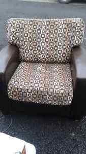 Leather/material loveseat and chair for sale