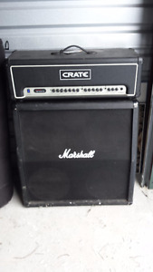 Marshall Cabinet with Crate Head Guitar Amp