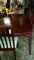 dining table w leaf, 4 chr and replacement table top