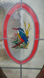 Lovely Mahogany Wood Front Door - Stained Glass Kingfisher