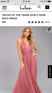 Pink floor length dress with convertible straps