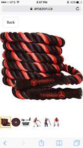 Red and Black Brand New Never Used Battle Ropes 40ft