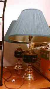 TWO CLASSY GREEN AND BRASSY LAMPS