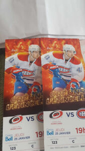 Canadiens hockey 25 janvier  hurricanes