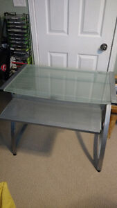 Glass Computer Desk with pull-out tray
