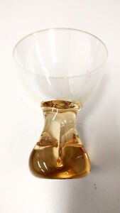 Vintage Amber glasses with Thick Heavy Pedestal Base set of 5