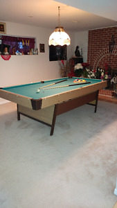 pool table, light above, 2 sets of table balls and cues and rack