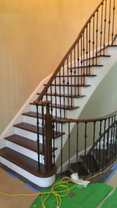 Stairs treads, railings staining and refinishing