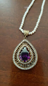 925 Sterling Silver Amethyst & Whie Topaz Pearl Necklace