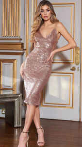 Rose Gold Sequin Midi Cami Dress From Club London