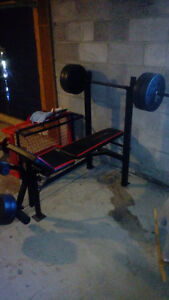 Punching bag almost brand new and wieght bench