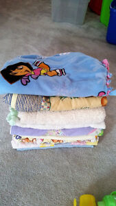 9 assorted baby and toddler blankets  - $10