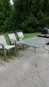 Patio table and 6 chairs.