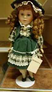 Rebecca Porcelain Doll With Stand & Tag