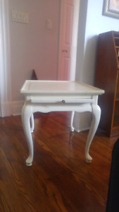Antique white side table with pullout