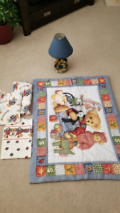 Baby teddy bear bedding and matching lamp