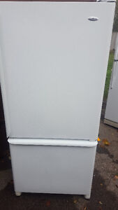 BOTTOM FREEZER FRIDGE  250.00,white, clean, Delivery available