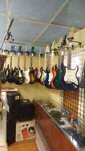 Accordion as well as large selection of guitars