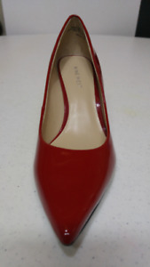 NINE WEST Shoes Patent Genuine Leather Upper 6.5M Deep Red - NEW