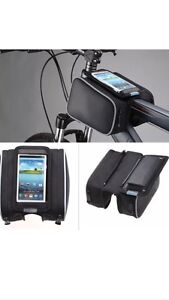 Double bag for Bicycle, with phone holder.