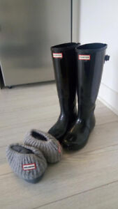 HUNTER BOOTS TALL + NEVER USED LINENS
