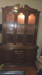 Beautiful Light Up Solid Wood Glass Hutch w/Drawers&Cupboards