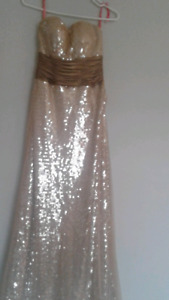 Beautiful gold sequence prom dress