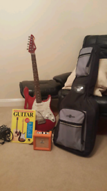 Electric guitar, amp, stand and strap