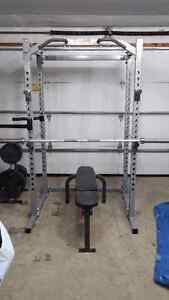 Powertec Olympic Power Rack + Bench + Weights