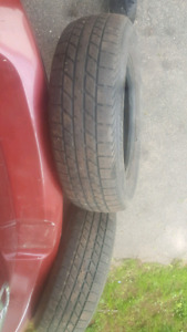 Set of 2 decent 205/70/15 all season tires for sale.