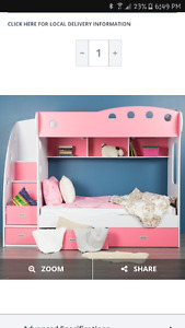 LF Jysk pink double bunk bed with stairs