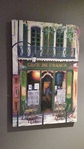 Large canvas oil art print of French Paris Cafe