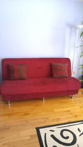 Brand new red sofa bed with built in storage