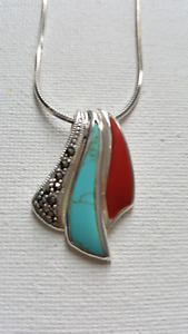 BEAUTIFUL MARCASITE, TURQUOISE AND RED CORAL PENDANT AND CHAIN