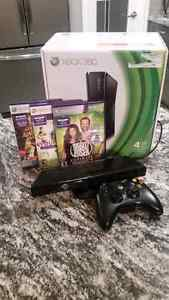 XBOX  360 with kinect and 3 games.