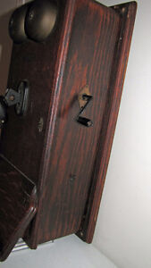ANTIQUE NORTHERN ELECTRIC OAK WOOD WALL PHONE Kawartha Lakes Peterborough Area image 3