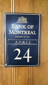 Bank of Montreal - tin calendar, all cards complete