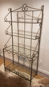 Wrought iron and glass bakers rack w/ wine storage