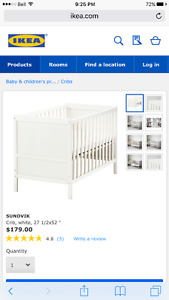 White Crib (Converts to Bed), Matress, Sheets - Never Used