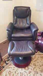 Leather Lazy boy recliner and ottoman