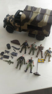 Toy army car and posable soldiers