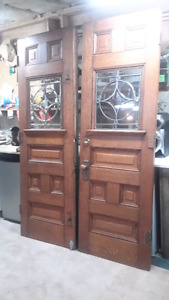 Antique oak entry doors