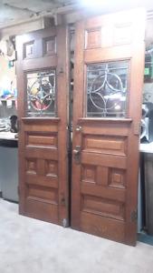 Antique oak entry doors