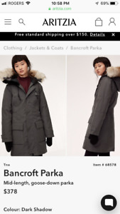 Aritzia tna Bancroft Parka. Like new! Worn one time.