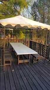 12 person custom table and benches with free gazebo