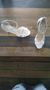 Ivory Ankle Strap Evening Sandals- Size 8, Brand new never worn.