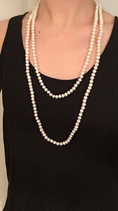 Genuine freshwater double charm pearl necklace