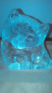 LED Crystal Cat Figurine Signed By The Artist